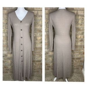All in Favor Taupe LS Button Down Maxi Dress - I61